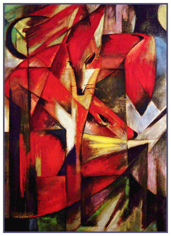 The Red Foxes by Expressionist Artis Franz Marc Counted Cross Stitch or Counted Needlepoint Pattern