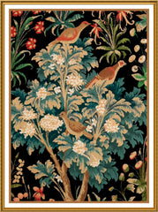 Birds in a Tree from a French Medieval Tapestry Counted Cross Stitch or Counted Needlepoint Pattern