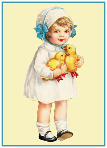 Vintage Easter Young Girl Blue Bows and Baby Chicks Counted Cross Stitch Pattern