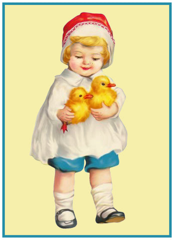 Vintage Easter Young Child Red Hat and Baby Chicks Counted Cross Stitch Pattern