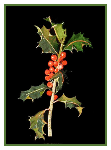Holly Leaves and Berries by Mary Delany Counted Cross Stitch or Counted Needlepoint  Pattern