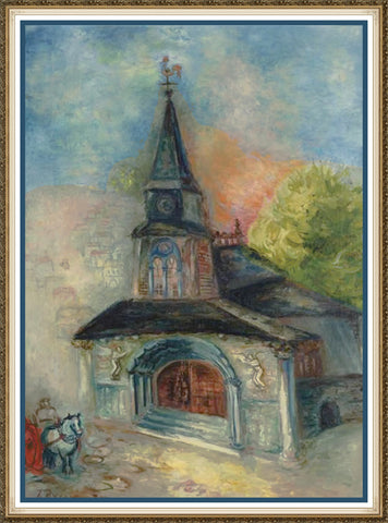 The Church at St Denis by Russian Artist  Issachar Ber Ryback's Counted Cross Stitch Pattern