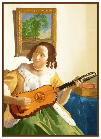 The Guitar Player by Johannes Vermeer Counted Cross Stitch or Counted Needlepoint Pattern