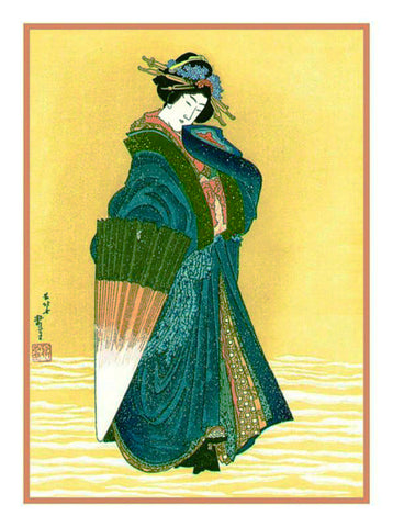 A Japanese Beauty in the Snow by Japanese artist Katsushika Hokusai Counted Cross Stitch or Counted Needlepoint Pattern
