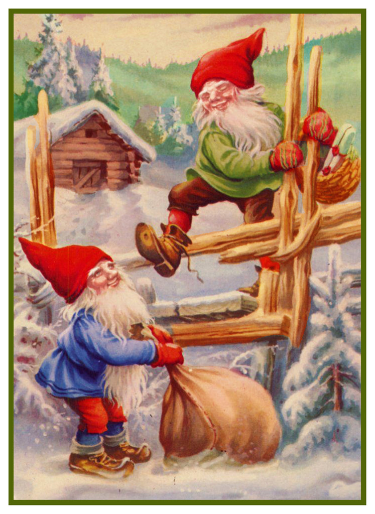 2 Elves Climb Fence Delivering Presents Jenny Nystrom Holiday Christmas Counted Cross Stitch or Counted Needlepoint Pattern