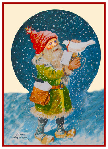 Elf with a Bird Note in Snow Jenny Nystrom  Holiday Christmas Counted Cross Stitch Pattern