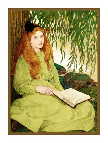Young Misss Reading Under a Willow Tree By Jessie Willcox Smith Counted Cross Stitch Pattern