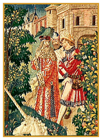 The Lords Detail From St Etienne Medieval Tapestry Counted Cross Stitch Pattern