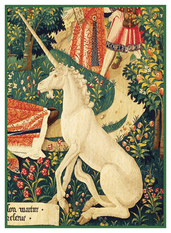 Unicorn Detail From St Etienne Medieval Tapestry Counted Cross Stitch Pattern