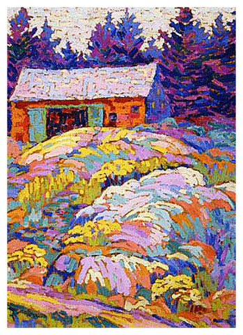 Lawren Harris's Landscape with a Barn Ontario Canada Landscape Counted Cross Stitch Pattern