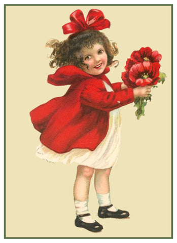 Vintage Little Girl Valentine Poppy Flowers Heart Love by Frances Brundage Counted Cross Stitch Pattern