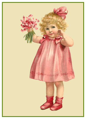 Vintage Little Girl Valentine Sweet Pea Flowers Heart Love by Frances Brundage Counted Cross Stitch Pattern