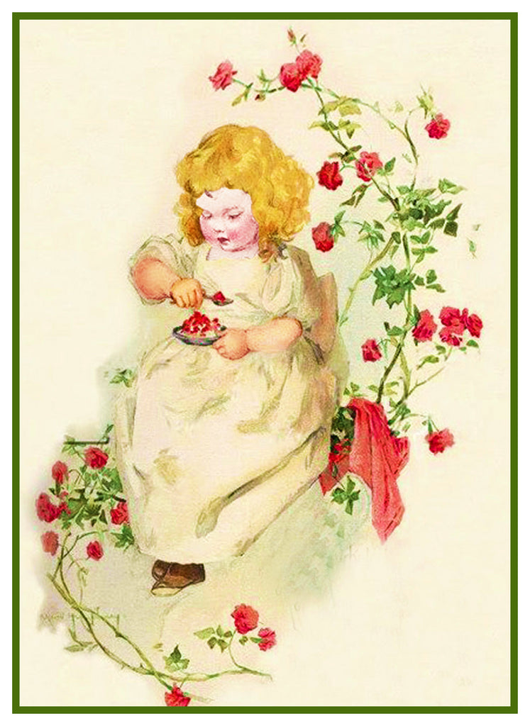 Young Girl in a Rose Garden by Maud Humphrey Bogart Counted Counted Cross Stitch Pattern