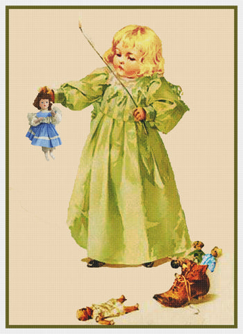 Young Girl Playing with Dolls by Maud Humphrey Bogart Counted Cross Stitch Pattern