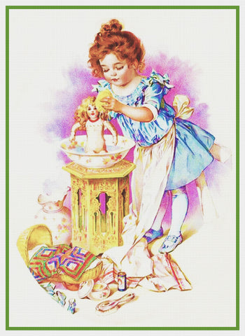 Young Girl Washing Her Dolls by Maud Humphrey Bogart Counted Cross Stitch Pattern