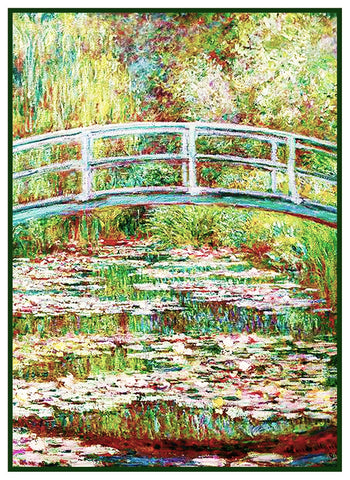 Bridge on Water Lily Pond inspired by Claude Monet's impressionist painting Counted Cross Stitch Pattern
