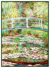Bridge on Water Lily Pond inspired by Claude Monet's impressionist painting Counted Cross Stitch  Pattern - Orenco Originals LLC