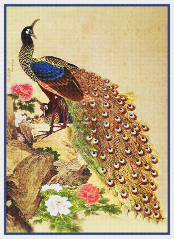Peacock and Peony Flowers by Japanese artist Maruyama Okyo Counted Cross Stitch Pattern