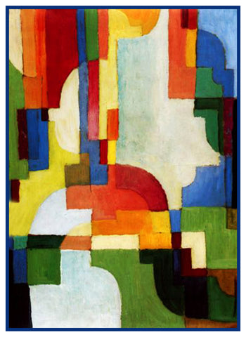 Brilliant Colored Forms by Expressionist Artist August Macke Counted Cross Stitch or Counted Needlepoint Pattern
