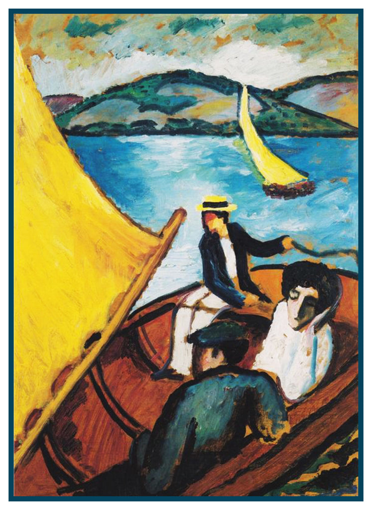 Sail Boat Rides by Expressionist Artist August Macke Counted Cross Stitch or Counted Needlepoint Pattern