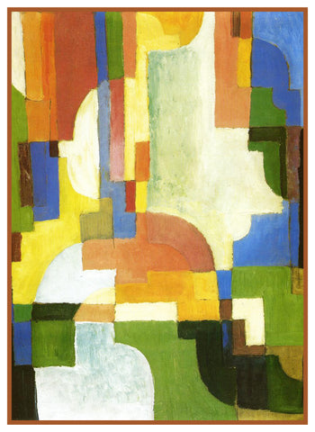 Colored Forms I by Expressionist Artist August Macke Counted Cross Stitch Pattern