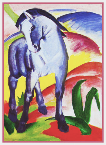 The Blue Horse by Expressionist Artis Franz Marc Counted Cross Stitch Pattern