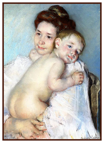 Berthe Holding The Baby by American impressionist artist Mary Cassatt Counted Cross Stitch Pattern