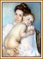 Berthe Holding The Baby by American impressionist artist Mary Cassatt Counted Cross Stitch or Counted Needlepoint Pattern - Orenco Originals LLC