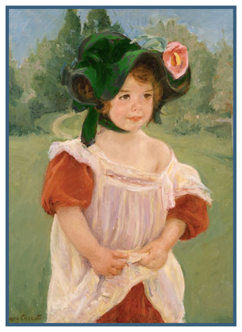 Portrait of Young Girl Margot by American Impressionist Artist Mary Cassatt Counted Cross Stitch Pattern