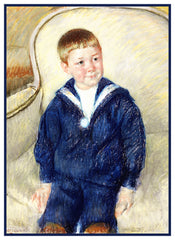 Portrait of the Young Master by American Impressionist Artist Mary Cassatt Counted Cross Stitch or Counted Needlepoint Pattern