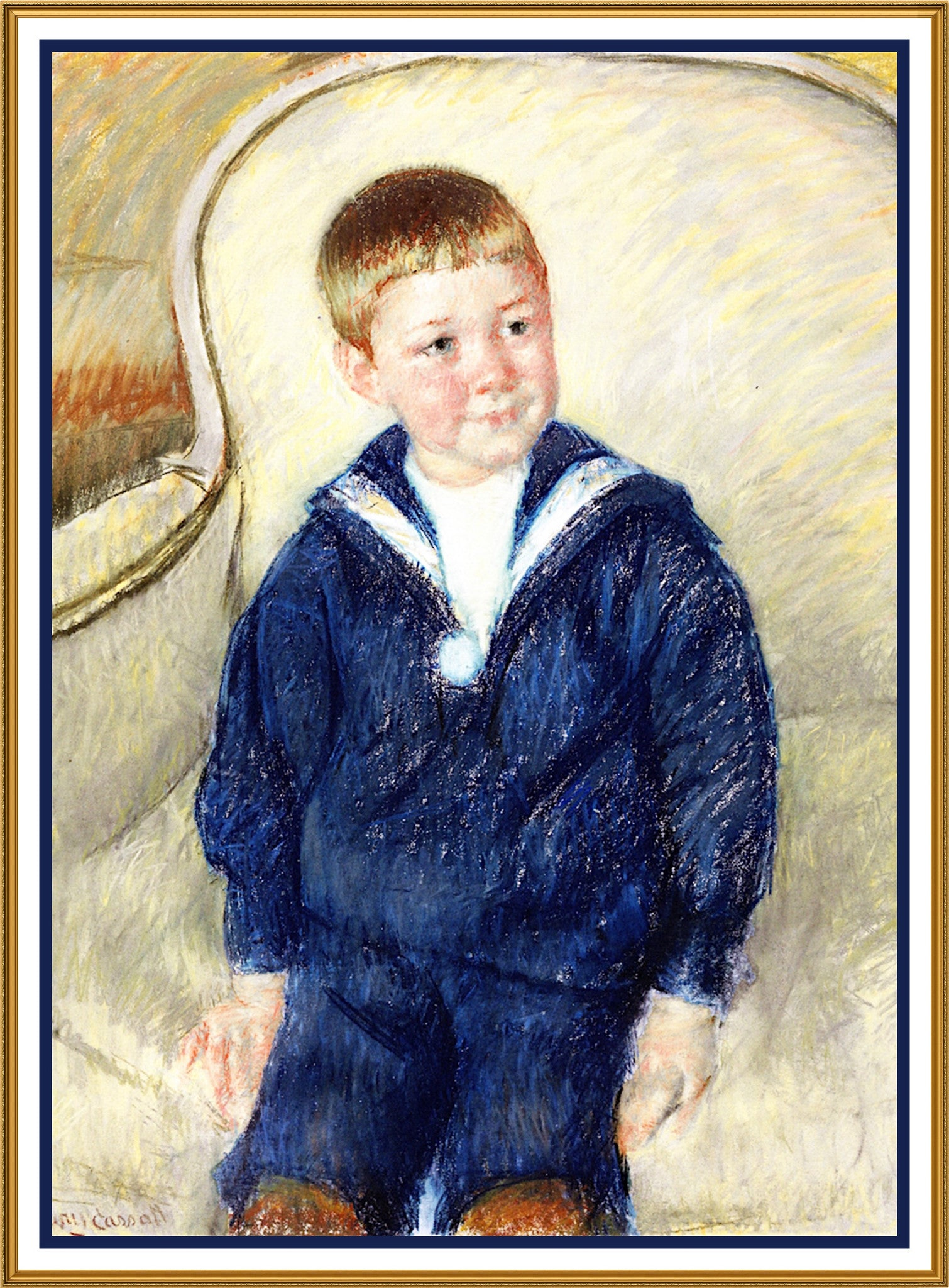 Portrait Of The Young Master By American Impressionist Artist Mary Cassatt Counted Cross Stitch Or Needlepoint Pattern