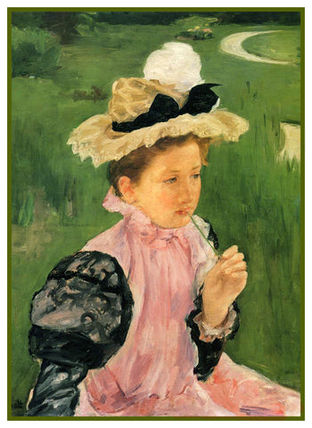 Portrait of Young Girl in Garden by American Impressionist Artist Mary Cassatt Counted Cross Stitch Pattern