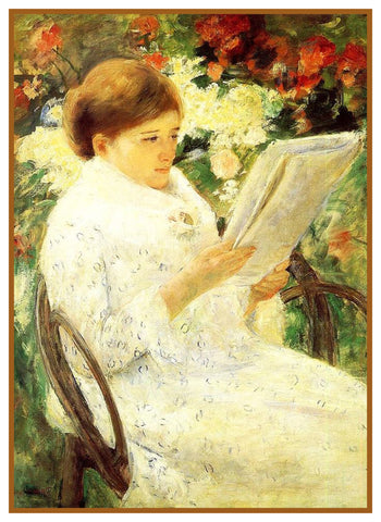 Woman Reading in Rose Garden by American Impressionist Artist Mary Cassatt Counted Cross Stitch Pattern