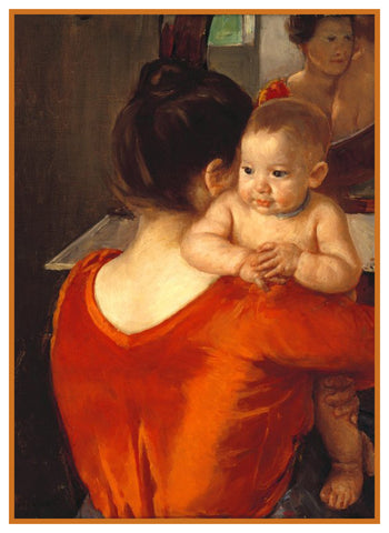 Woman in Red Dress with Baby by American Impressionist Artist Mary Cassatt Counted Cross Stitch Pattern