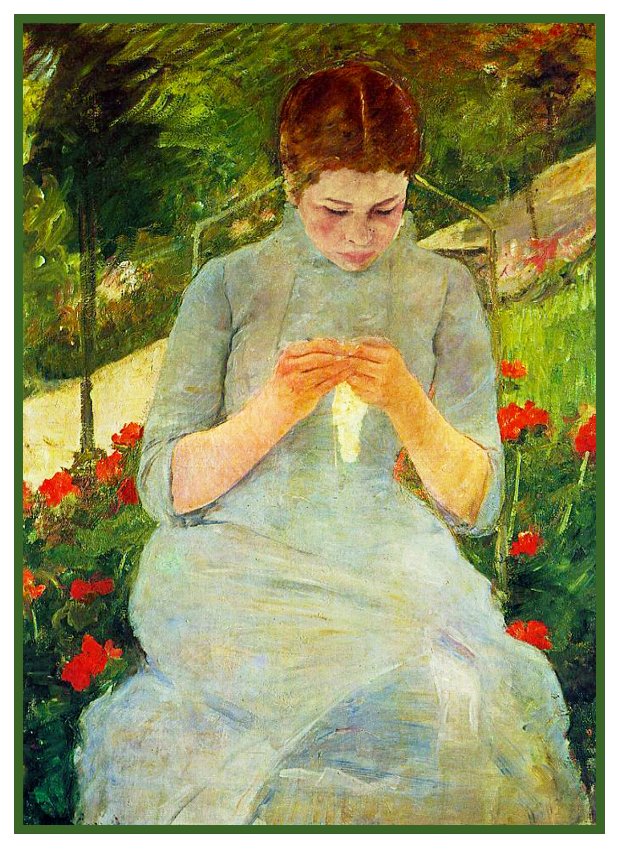 Woman Sewing In The Garden By American Impressionist Artist Mary Cassatt Counted Cross Stitch Or Needlepoint Pattern