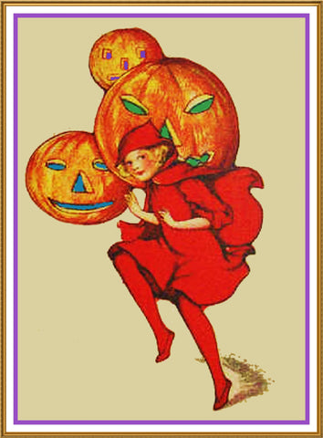 Halloween Elf with Jack O Lanterns Counted Cross Stitch or Counted Needlepoint Pattern