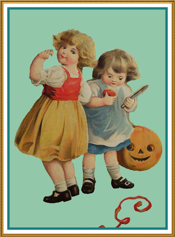 Halloween Boy and Girl Carve Pumpkin Counted Cross Stitch or Counted Needlepoint Pattern