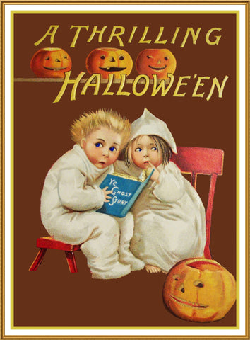 Halloween Children Scared by Ghost Stories Counted Cross Stitch Pattern