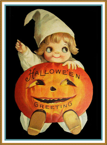Halloween Greeting Baby with a Pumpkin Counted Cross Stitch or Counted Needlepoint Pattern