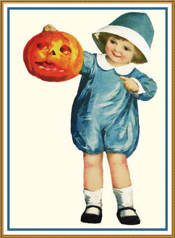 Halloween Boy in Blue Holding a Pumpkin Counted Cross Stitch or Counted Needlepoint Pattern