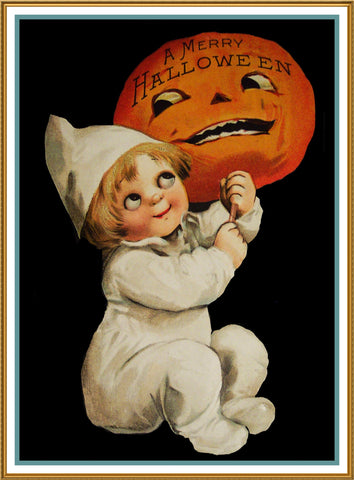 Halloween Baby Holding a Pumpkin Counted Cross Stitch or Counted Needlepoint Pattern