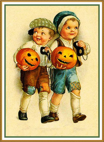 Halloween Two Boys with Jack O Lanterns Counted Cross Stitch or Counted Needlepoint Pattern