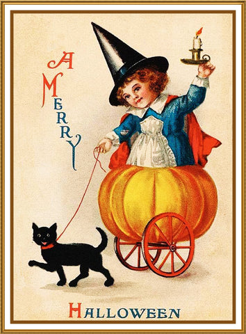 Halloween Girl with Pumpkin Cart Black Cat Counted Cross Stitch or Counted Needlepoint Pattern