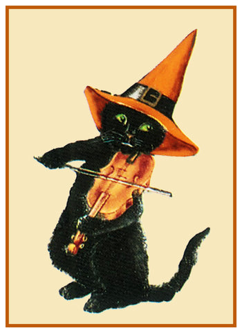 Halloween Fiddling Black Cat Counted Cross Stitch Pattern Digital Download