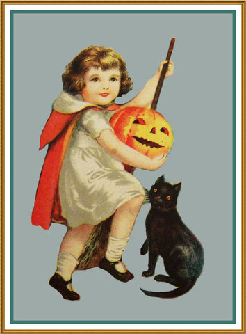 Halloween Girl Pumpkin and a Black Cat Counted Cross Stitch or Counted Needlepoint Pattern