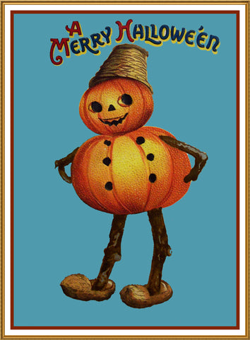 Halloween Pumpkin Man with Hat Counted Cross Stitch or Counted Needlepoint Pattern