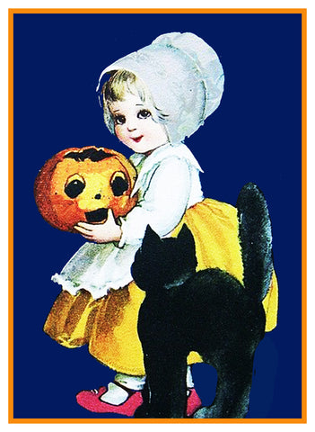 Halloween  Cute Little Girl with Carved Pumpkin Counted Cross Stitch or Counted Needlepoint Pattern