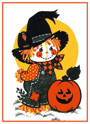 Halloween Scarecrow and Pumpkin Counted Cross Stitch or Counted Needlepoint Pattern