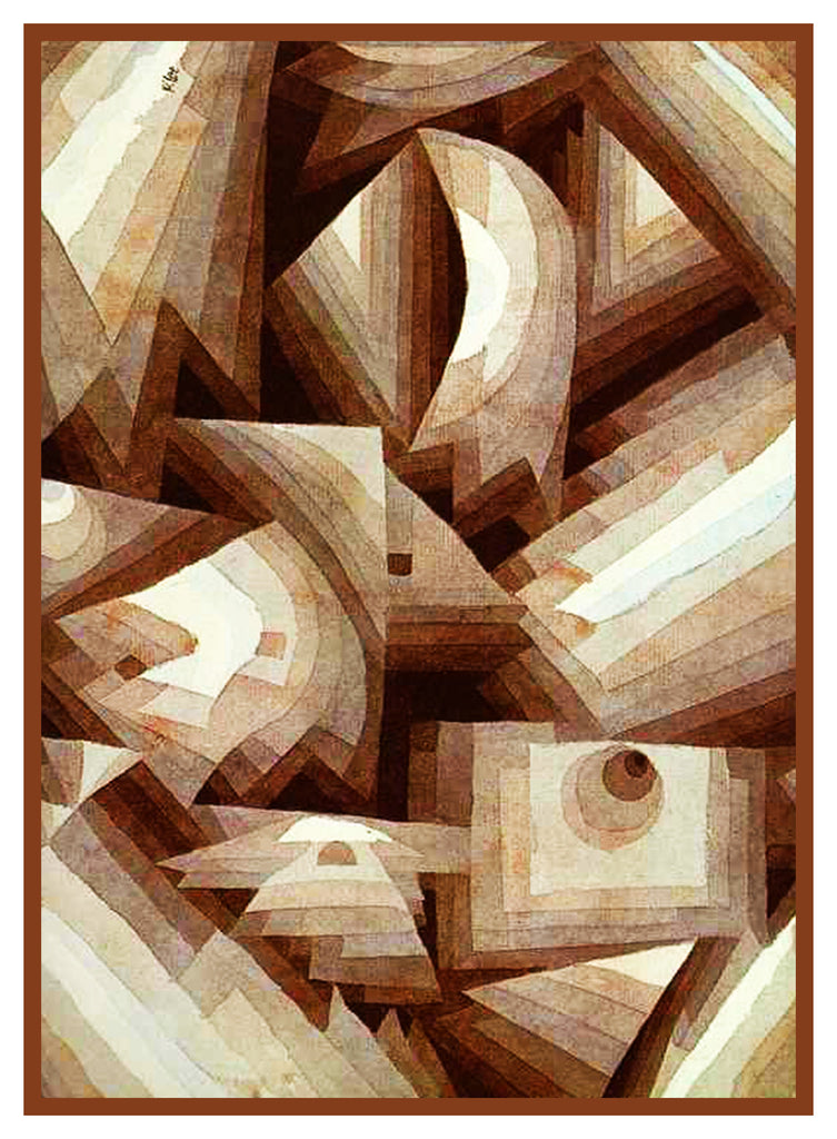 Brown Crystals by Expressionist Artist Paul Klee Counted Cross Stitch or Counted Needlepoint Pattern