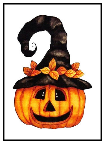 Folk Art Pumpkin in Witch Hat Halloween Counted Cross Stitch Pattern